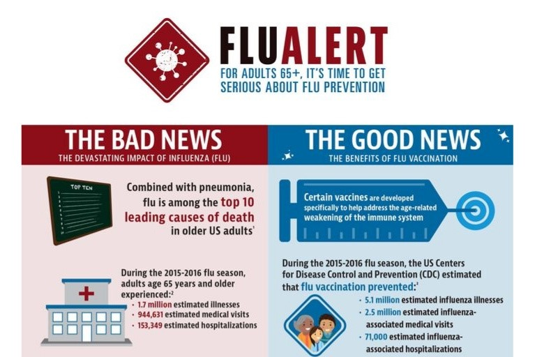 Protecting Older Adults 65+ Against Influenza: Flu Alert Infographic