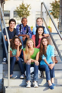Teens on Stairs