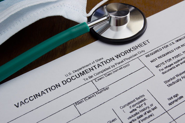 Vaccination Documentation sheet for filling in the performance of vaccination